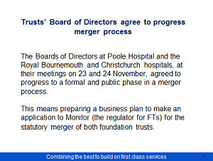 Proposed merger Poole Bournemouth and Christchurch Hospital Trusts Consultation - Slide 2