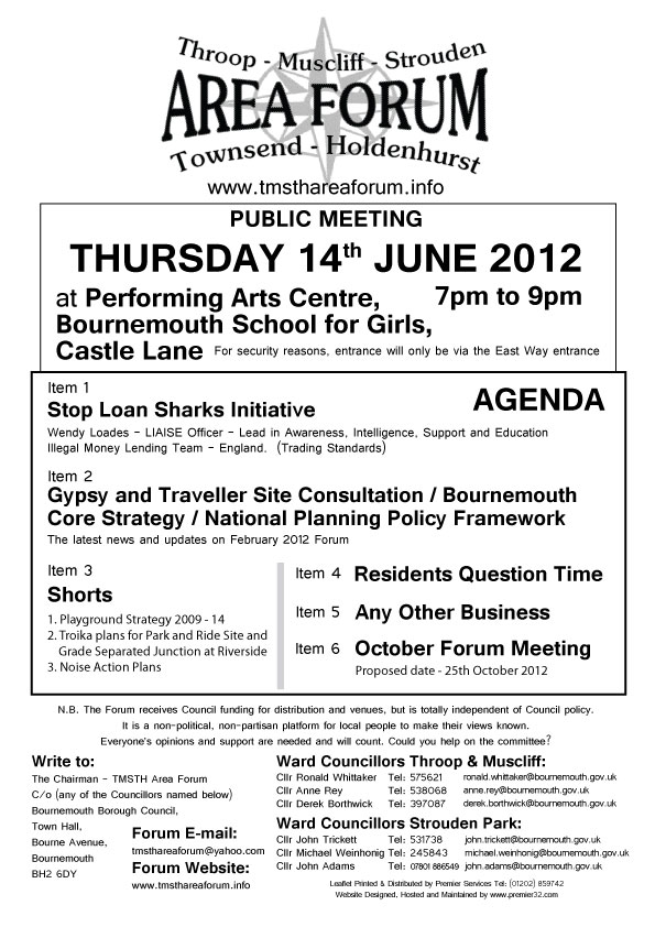 TMSTH Area Forum Agenda June 2012 - Side 1