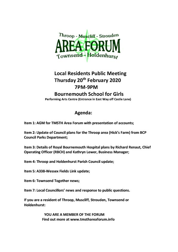 TMSTH Area Forum Agenda 20th February 2020