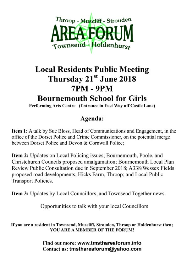 TMSTH Area Forum Agenda 21st June 2018