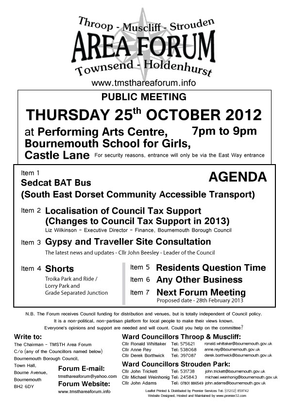 TMSTH Area Forum Agenda October 2012 - Side 1